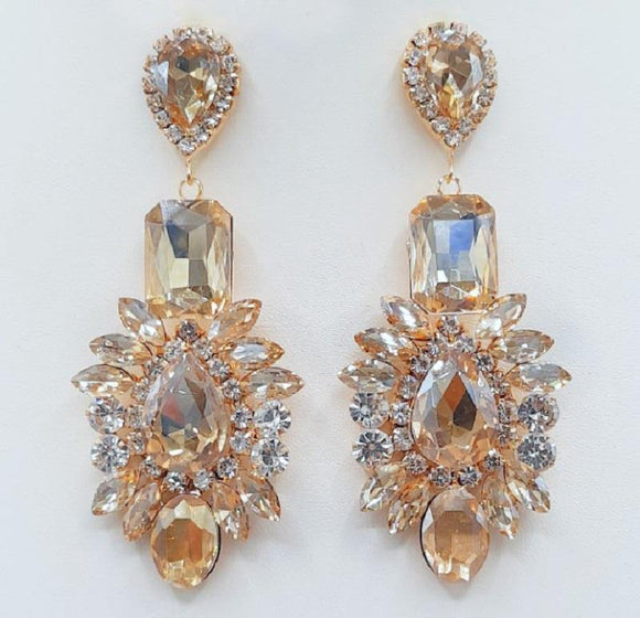 GOLD EARRINGS CLEAR TOPAZ STONES ( 2209 GDLTOP ) - Ohmyjewelry.com