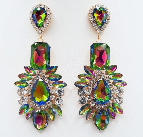 GOLD EARRINGS GREEN AB STONES ( 2209 GDRBAB )