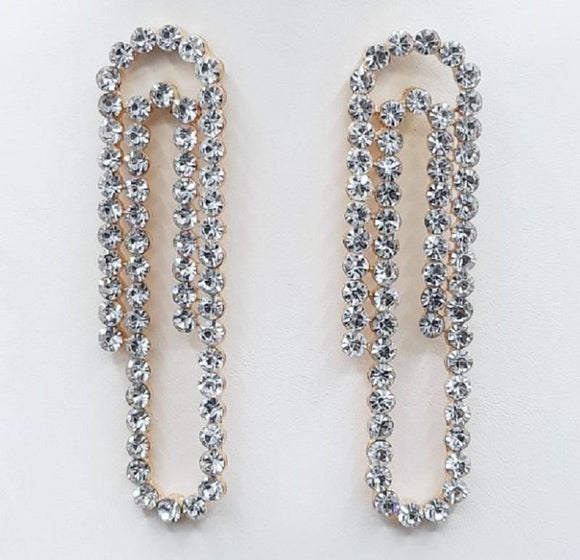 GOLD PAPER CLIP EARRINGS CLEAR STONES ( 2215 GDCRY )