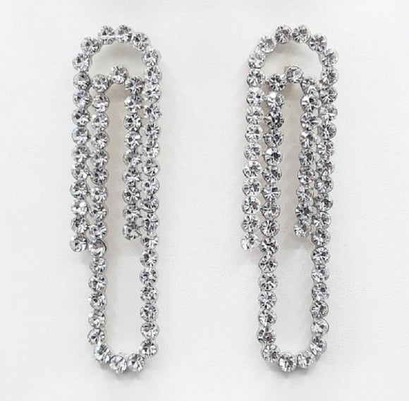 SILVER PAPER CLIP EARRINGS CLEAR STONES ( 2215 RHCRY )