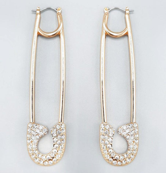 GOLD SAFETY PIN EARRINGS CLEAR STONES ( 2216 )