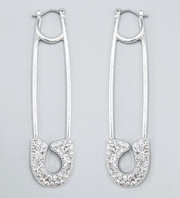 SILVER SAFETY PIN EARRINGS CLEAR STONES ( 2216 )