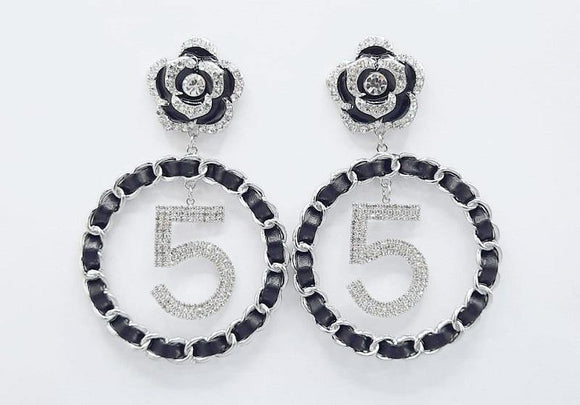 SILVER BLACK 5 FLOWER EARRINGS CLEAR STONES ( 2345 RHBK )