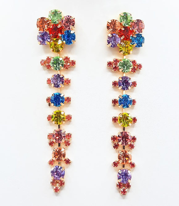 DANGLING GOLD EARRINGS MULTI COLOR STONES ( 2352 GDMT )