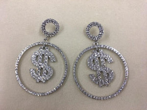 "3.5"" Silver Clear Rhinestone Dollar Sign $ Fashion Dangle Earrings ( 2070 )"