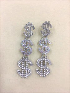 "4"" Silver AB and Clear Rhinestone Dollar Sign $ Fashion Dangle Earrings ( 2072 )"