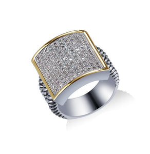 Two Tone and Crystal Square Rhodium Plated Ring SIZE 7 ( 984 )