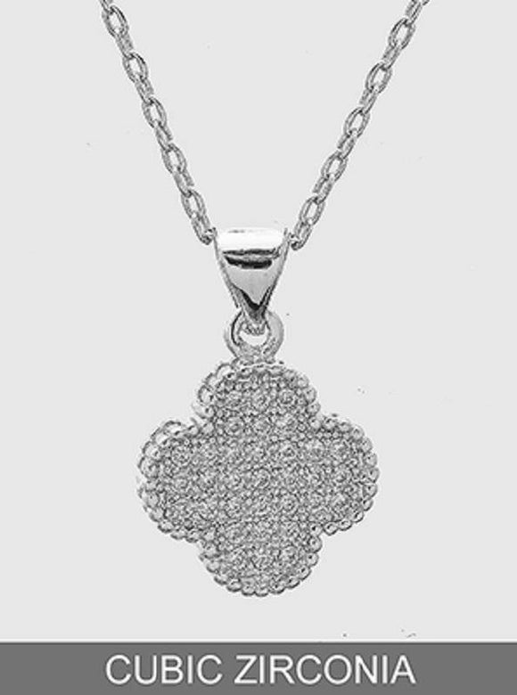 SILVER NECKLACE WITH CLOVER CHARM WITH CZ CUBIC ZIRCONIA STONES ( 451 )