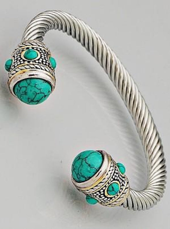 Two Tone Cable Cuff Bracelet with Rounded Turquoise Stones ( 082 )