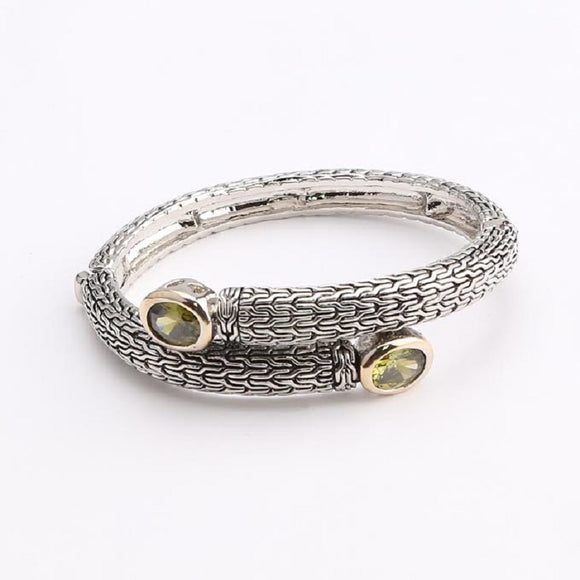 SILVER GOLD BANGLE GREEN STONES ( 238 BGREEN )