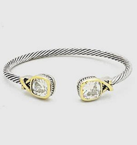 Clear Rounded Square Stone Accent Cable Cuff Bracelet ( 799 )