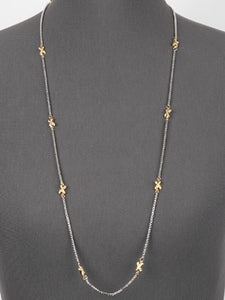 "Two Tone X Design Long 36"" Necklace ( 847 )"
