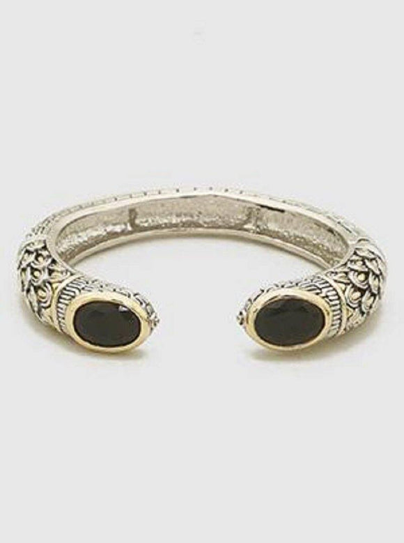 TWO TONE CUFF WITH BLACK OVAL STONES ( 084 BK )