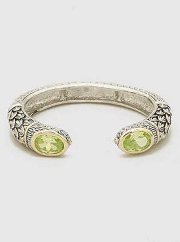 TWO TONE CUFF WITH LIME GREEN OVAL STONES ( 084 GN )