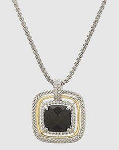 Two Tone Square Black CZ Pendant Rhodium Plated Necklace ( 880 )