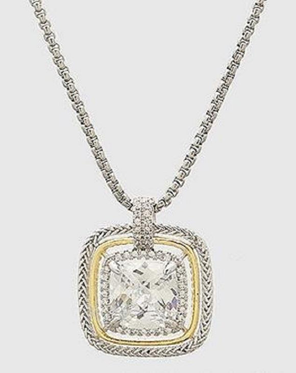 Two Tone Square Clear CZ Pendant Rhodium Plated Necklace ( 880 )