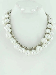 Silver Link Necklace with Dangling White Pearl Beads and Matching Stud Earrings