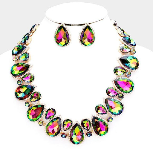 Green AB Teardrop Stones with Surrounding Clear Stones Formal Necklace Set with Gold Accents ( 2045 )