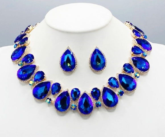 BLUE AB Teardrop Stones Surrounding Clear Stones Formal Necklace Set GOLD Accents ( 2045 GDBLAB )