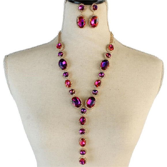 LONG GOLD NECKLACE WITH PURPLE AB & CLEAR OVAL STONES AND MATCHING EARRINGS ( 2048 )