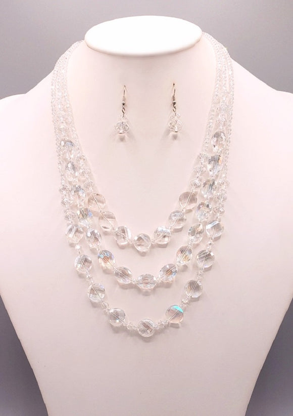 3 LAYER CLEAR GLASS BEADED FASHION NECKLACE SET ( 3055 CRY )