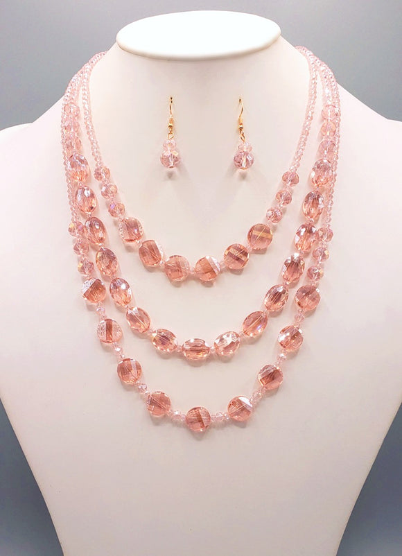 3 LAYER PEACH GLASS BEADED FASHION NECKLACE SET ( 3055 PEA )