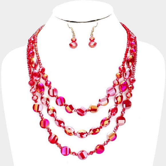 3 LAYER RED GLASS BEADED FASHION NECKLACE SET ( 3055 RD )