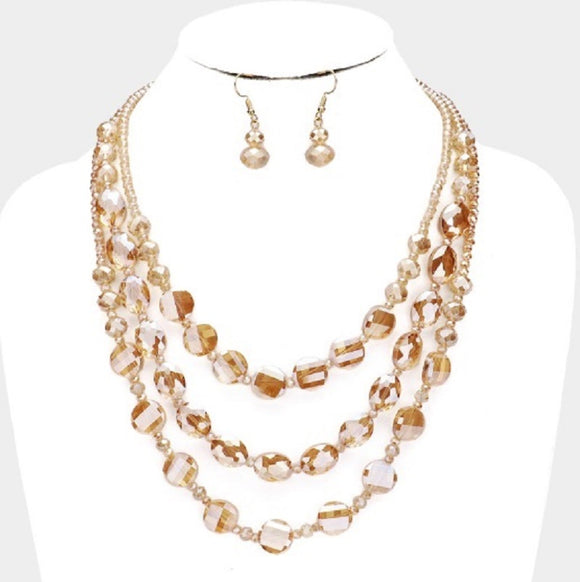 3 LAYER TOPAZ GLASS BEADED FASHION NECKLACE SET ( 3055 TOP )
