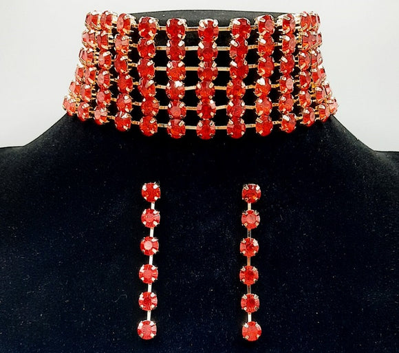 GOLD CHOKER NECKLACE SET RED STONES ( 3069 GDSIAM )