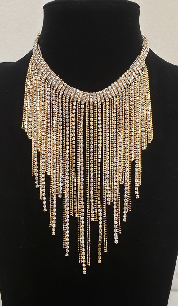 GOLD NECKLACE SET DANGLING CHAINS ( 3095 )