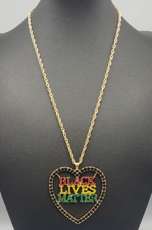 LONG GOLD HEART BLACK LIVES MATTER BLM MULTI COLOR STONES ( 3121 )