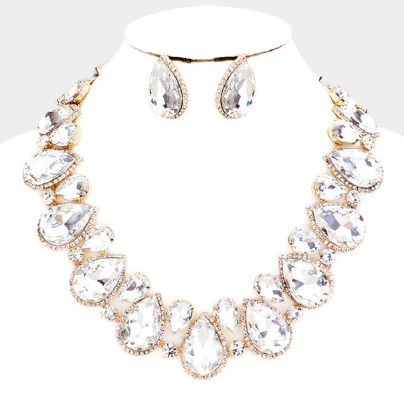 Clear Teardrop Stones with Surrounding Clear Stones Formal Necklace Set with Gold Accents ( 2045 )