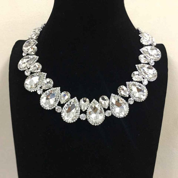 Clear Teardrop Stones with Surrounding Clear Stones Formal Necklace Set with Silver Accents ( 2045 )