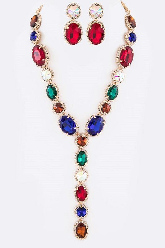 Multi Color Oval and Round Y Drop Necklace Set with Gold Hardware ( 2048 GDLMT )