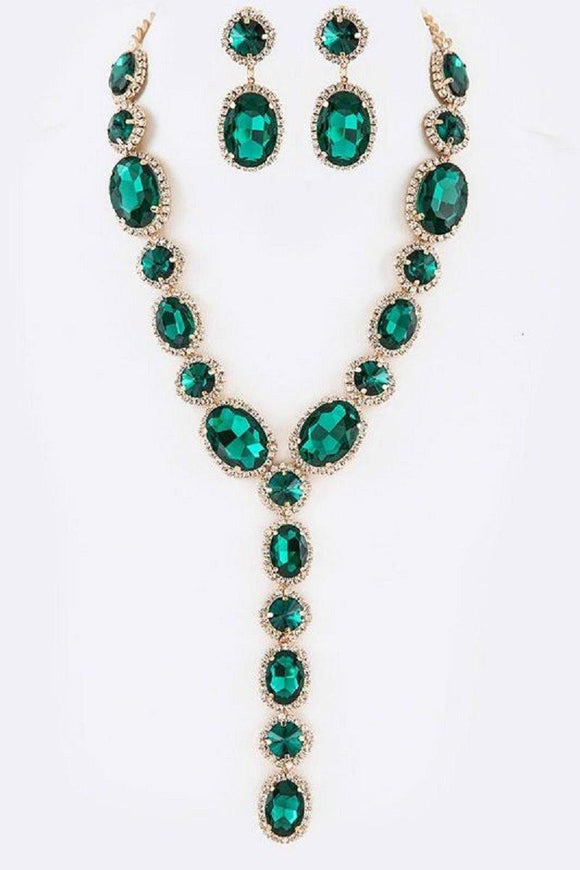 EMERALD Oval and Round Y Drop Necklace Set with Gold Hardware ( 2048 GDEM )