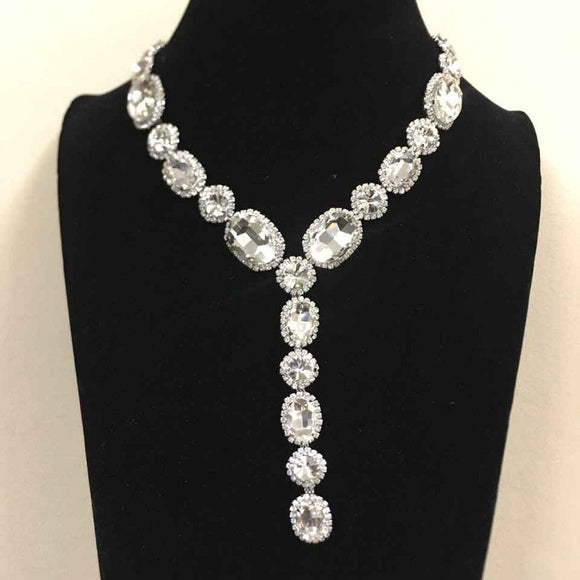 Clear Oval and Round Y Drop Necklace Set with Silver Hardware ( 2048 )