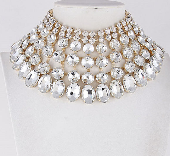 Gold and Large Clear Stone Bib Style Evening Necklace Set ( 2062 )