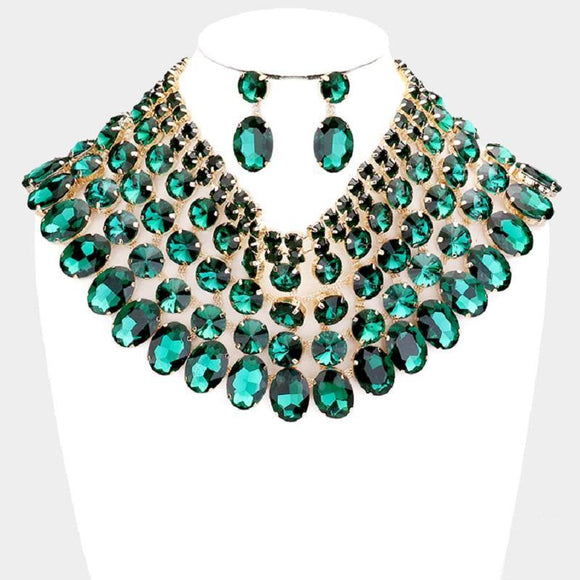 Gold and Large Green Stone Bib Style Evening Necklace Set ( 2062 EM )