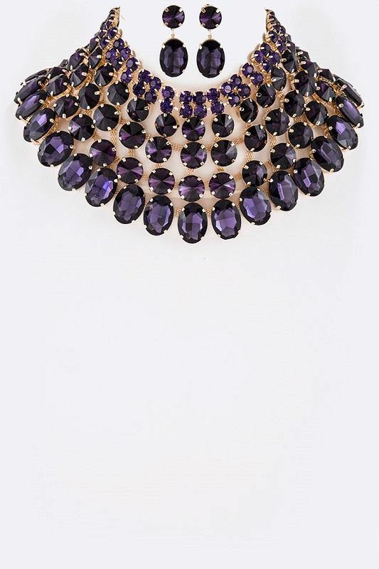 Gold and Large Purple Stone Bib Style Evening Necklace Set ( 2062 )