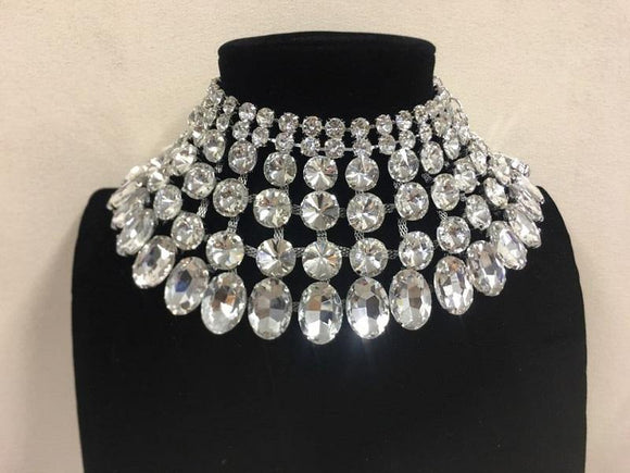 Silver and Large Clear Stone Bib Style Evening Necklace Set ( 2062 RHCL )