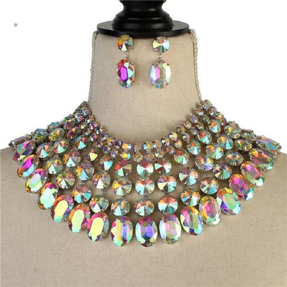 Silver and Large AB Stone Bib Style Evening Necklace Set ( 2062 RHAB )