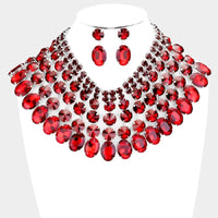 SILVER and Large RED Stone Bib Style Evening Necklace Set ( 2062 )