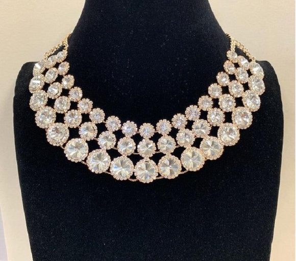 Gold Clear Rhinestone 3 Layer Round Necklace Set ( 2070 )
