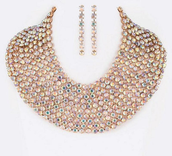 Gold AB Multi Layer Rhinestone Bib Style Statement Necklace Set ( 3001 )