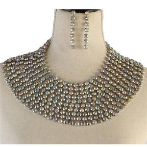 Silver AB Multi Layer Rhinestone Bib Style Statement Necklace Set ( 3001 )