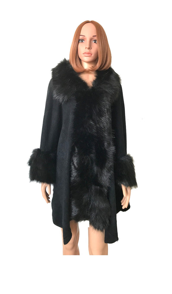 FAUX FUR TRIM DETAIL LONG PONCHO BLACK ( 0007 )