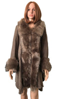 FAUX FUR TRIM DETAIL LONG PONCHO KHAKI ( 0007 )