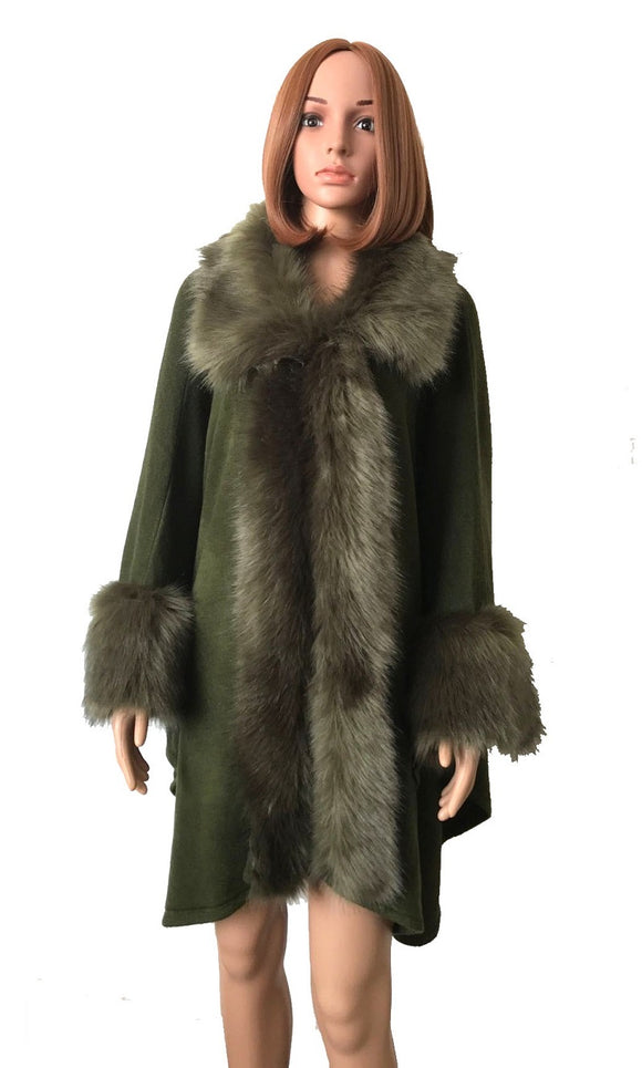 FAUX FUR TRIM DETAIL LONG PONCHO OLIVE ( 0007 )