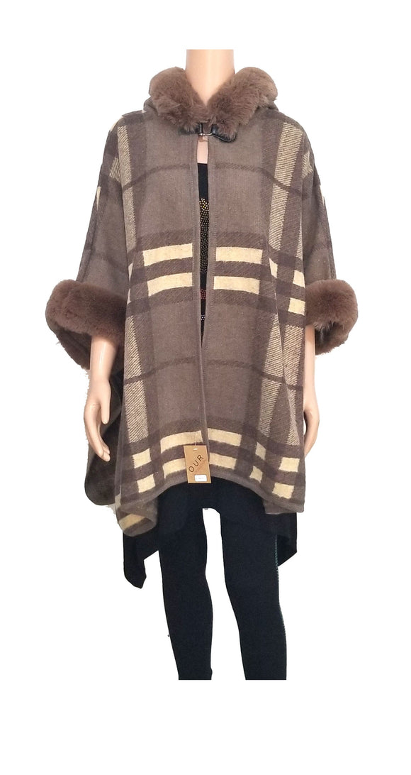 KHAKI MULTI COLOR PONCHO ( 0040 )