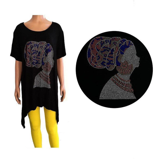 3/4 SLEEVE BLACK SHIRT WOMAN CAMEO MULTI COLOR STONES STONES PLUS SIZE ( 0079 )